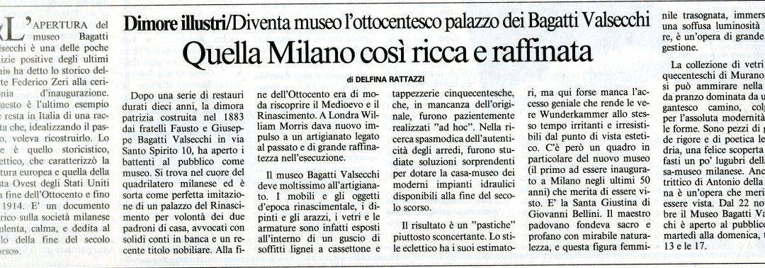 That Milan, so rich and so refined (press coverage, in Italian)